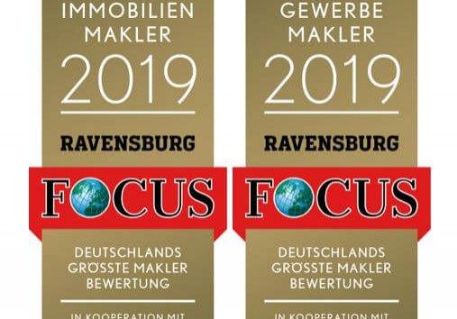 Der FOCUS zeichnet uns 2019 als TOP Immobilienmakler und Gewerbemakler aus.